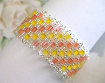 Peyote Bracelet in Yellow, Orange and Silver Cube Seed Beads Beaded Beadwoven Handmade Sale