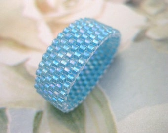 Peyote Ring in Sky Blue Seed Bead Beaded Beadwoven Handmade Simplicity - size 4, 5, 6, 7, 8, 9, 10, 11, 12, 13