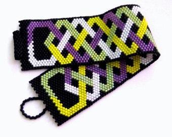 Wide Peyote Bracelet   / Seed bead Bracelet in Yellow, Lilac, Lime, Green ,White and Black / Beaded Bracelet / Beadwork Bracelet