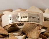 leather cuff bracelet,1/2 in, white distressed leather, Trust Your Story