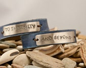 Leather cuff bracelet- to infinity and beyond - blue- his and hers  pair - 1/2  inch, with inside secret message