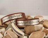 Leather cuff bracelet - SET, longitude, latitude, 1/2 inch cuff