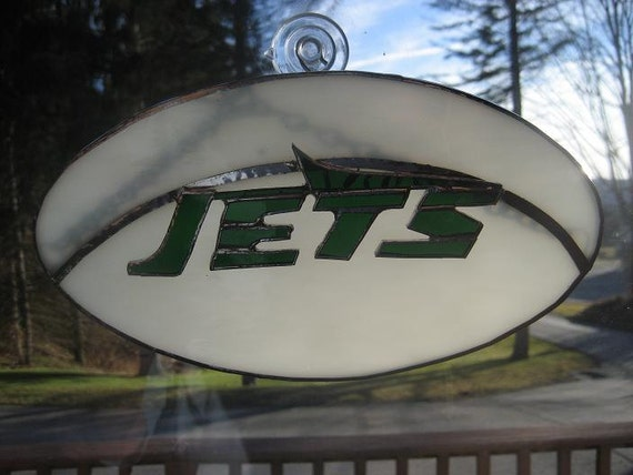 Stained Glass NY Jets Football Plaque