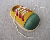 Wooden Lacing Toy Shoes and Laces