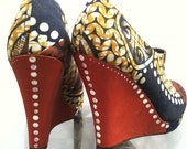 African Fabric Shoe Boot Eloana