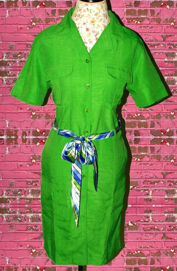 CLEARANCE  Vintage 1980s Funky Green Button Up Dress with Pockets and Colorful Striped Belt