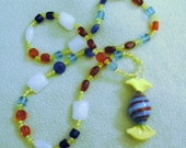 Red, turquoise, yellow lampwork pendant sweetie necklace---28 inches (711 mm) long--OOAK---FREE SHIP