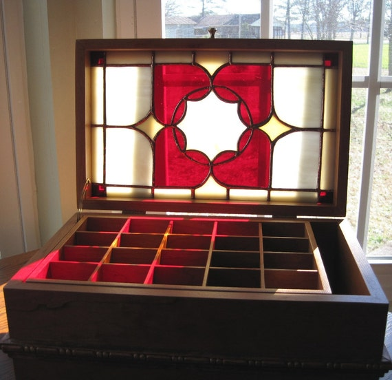 Ruby and Gold - Cherry Wood and Stained Glass Jewelry Box