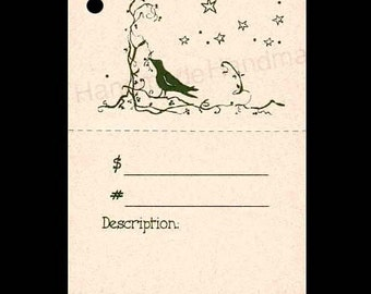 """100  """"CROW BERRIES TWIGS"""" Hang Tags, Price Tags, Strings Included.  Perforated For Price."""
