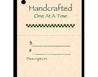 """100  """"Handcrafted One At a Time"""" Hang Tags, Price Tags, Strings Included.  Perforated For Price."""