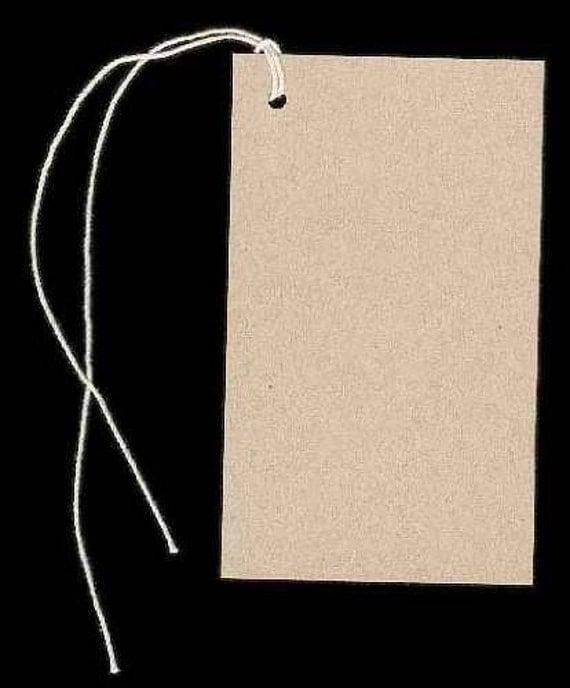 100 Lg BLANK KRAFT Hang Tags & Strings. Size 2-1/8 x by ...