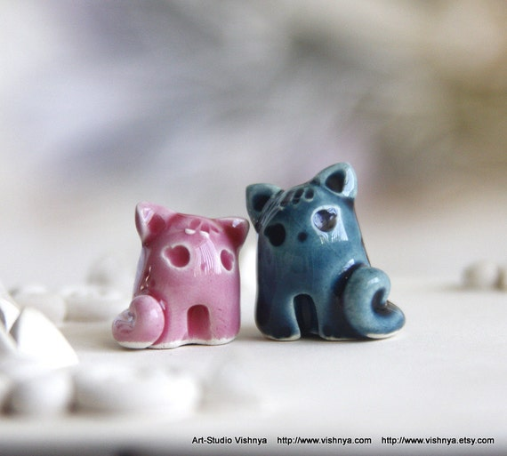 2 Tiny Spring Cats by studio Vishnya