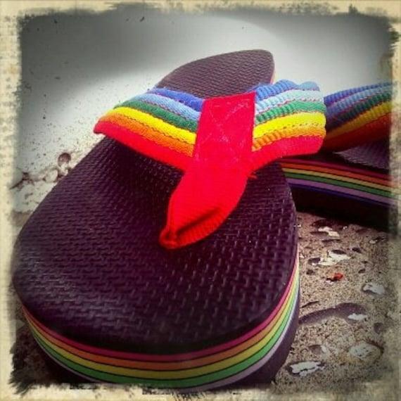 Vintage 80 S Rainbow Flip Flops Size 7