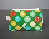 Zippered Pouch / Card Case / Change Purse / Business Card Holder - Little Bird Green