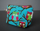 Zippered Pouch Large / Wristlet Case / Change Purse / Small Bag / Cosmetic Case / Pouch - Hooterrific