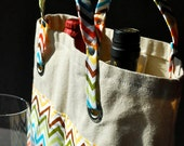 Wine Tote Wine Bottle Bag Case Carrier Holder - DOUBLE BARREL - Zig Zag Rainbow