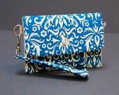 Wristlet / iPhone Case / Small Purse / Change Purse / Business Card Case / Card Holder - POKE WRISTLET - Damask Ocean Blue