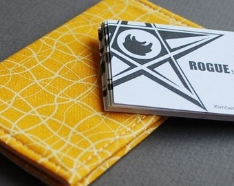 Business Card Case  / Card Holder / Credit Card Holder - VERT I - Yellow Wave