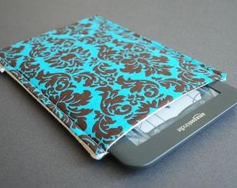 Kindle Paperwhite case / Galaxy Tab Nook / Nook Glowlight Plus Sleeve - Damask Teal Brown