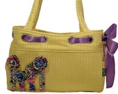 Handmade Large Shoulder Bag with rosette ruffle embellishment