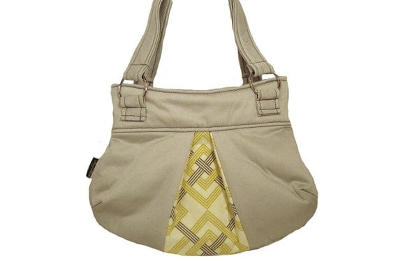 SALE: Small Shoulder Bag - Handmade Handbag in pale gray with yellow diamond accents