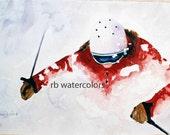 Skiing Powder Skier  PRINT  8 x 10 inches alta snowbird deer valley park city deep powder snowboard