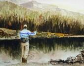 Fish art/ Fish/Christmas/FLY FISHING PRINT / Fly Fishing art print / Fly Fishing Painting ( 11 x 14 Fly Fisherman print) gift under 25/man
