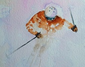 Skier Watercolor print 11 x 14  ski snow art downhill skier fine art painting gift for him christmas gift for her wall art gifts under 25