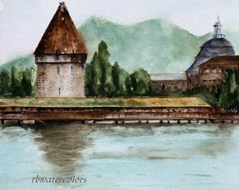 Watercolor landscape painting europe Bridge to Old Town Lucerne Switzerland Print 10x10 europe river lake water brown green blue
