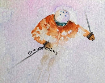 Skier Downhill 8 x 10 PRINT Ski Art  winter snow alta snowbird deer valley canyons brighton