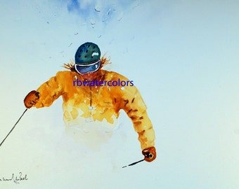 skier snow ski watercolor print gifts under 20 painting christmas winter outdoors downhill skiing