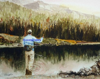 man gift for dad Rustic Cabin Decor Landscape Painting FLY FISHING PRINT Fly Fishing art print Fly Fishing Painting 8x10 dad gift idea 15