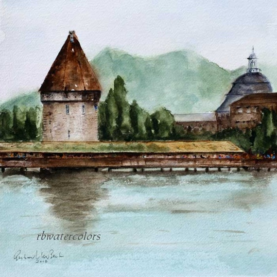 Watercolor landscape Bridge to Old Town Lucerne Switzerland Print 10x10 europe river lake water brown green blue