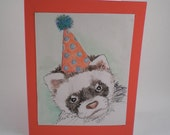 Happy Birthday Ferret Hand Painted One of a Kind Watercolor Greeting Card