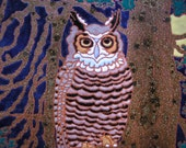 Great Horned Owl bird tile with incredible detail in the arts and crafts style