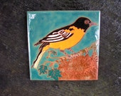 Baltimore Oriole Tile Arts and Crafts style perfect for the birder, used in kitchen,bath, fireplace surround, or framed