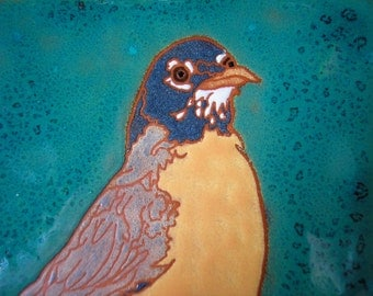American Robin tile,-CUSTOM ORDER -allow 4-6 wks production time- Arts and Crafts, , Birders, Kitchen,Bath, Fireplace Surround, or Framed