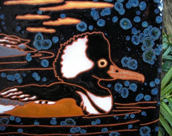 Sunset Mergansers  tile,CUSTOM ORDER -allow 4-6 wks production time- Arts and Crafts, birders, kitchen,bath,fireplace surround