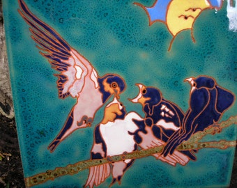 Tree Swallow family tile-CUSTOM ORDER - 4-6 wks production time- in the arts and crafts style perfect for any birdlover