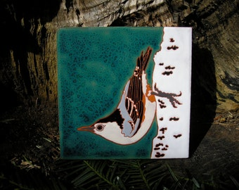 Nuthatch tile for the bird lover-CUSTOM ORDER - 4-6 wks production time-,, arts and crafts,birder gift, kitchen,bath,fireplace surround
