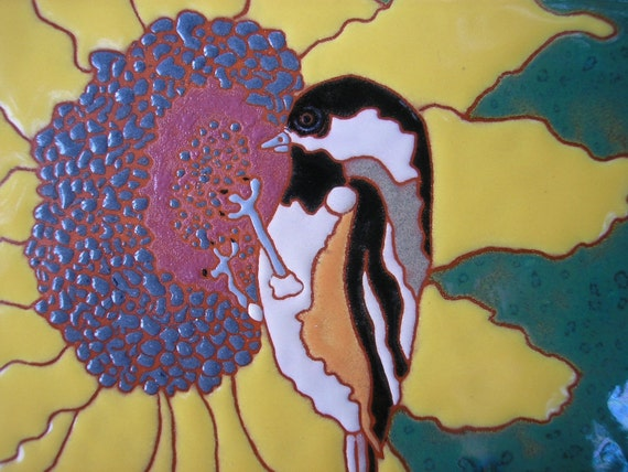 Chickadee on a  Sunflower  bird tile