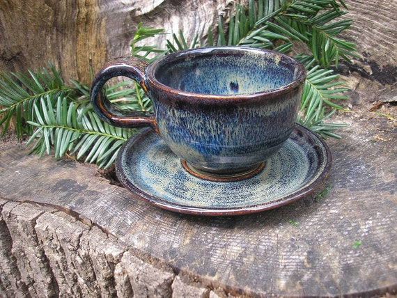 Demitasse or Espresso Teacup and Saucer Set glazed in Midnight Storm