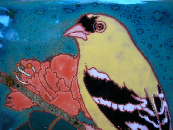 Goldfinch  bird tile Arts and Crafts style, great detail perfect for birders, kitchen,bath,fireplace surround, or framed
