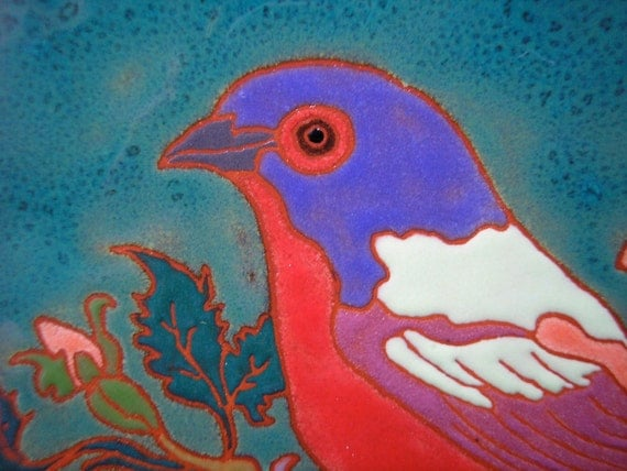 Painted Bunting  bird tile Arts and Crafts style,, birder gift, kitchen, bath, fireplace surround or framed