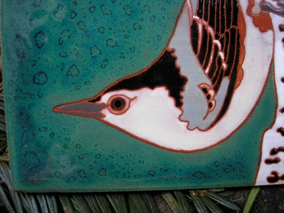 Nuthatch  tile for the bird lover, great detail, arts and crafts,birder gift, kitchen,bath,fireplace surround or framed