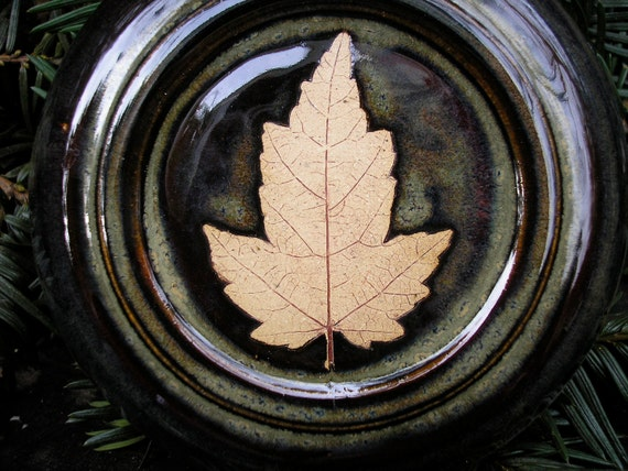 Red Maple Leaf French Butter Keeper