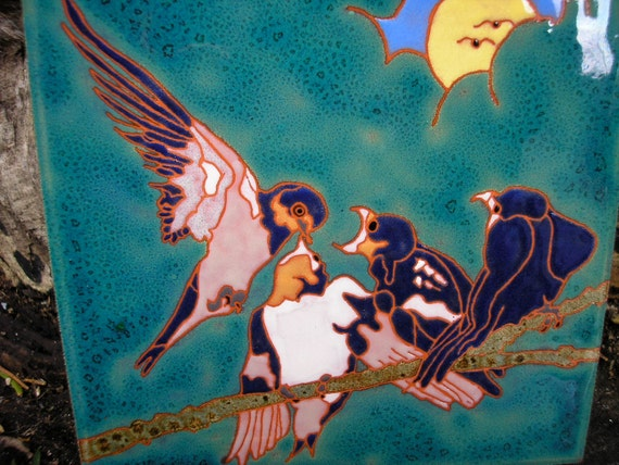 Tree Swallow family bird tile in the arts and crafts style perfect for any birdlover