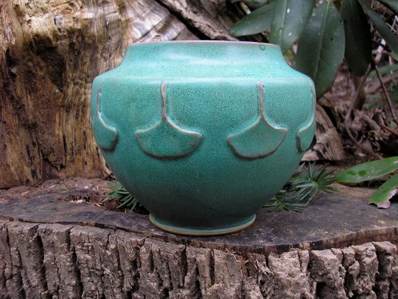 Ginkgo Leaf Arts and Crafts vase in verdigris green glaze , handcrafted pottery, mission style
