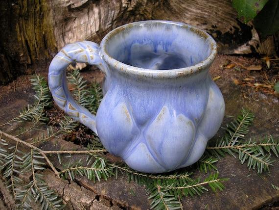 Quilted Mug 16 oz. Purple Mist glaze, sensuous feel, coffee mug, tea mug, curvy mug