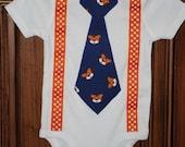 Auburn Tiger Face Tie and Suspenders Onesie or Shirt